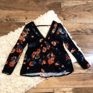 Maeve Anthropologie Floral Navy Top
